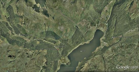 Google Earth Aerial View of Loch Long and Ardgartan. Showing Turner's viewpoint and principal landmarks