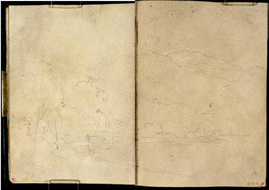 J M W Turner Rubha Mor on Loch Lomond, with Ben Lomond in the distance, 1801 Pencil and sepia washes on paper, 149 x 218 mm (page size, 149 x 109 mm) from the 'Tummel Bridge' sketchbook, Tate, London, D03284-85, Turner Bequest TB LVII 4a-5 as 'A Small Boat Drawn Up in a Wooded Bay, with Mountains Beyond: ?Loch Lomond at Inveruglas'. Image courtesy of Tate. To see the image in the Tate's own online catalogue, click on the following link, and then use your browser's 'back' button to return to this page: http://www.tate.org.uk/art/sketchbook/tummel-bridge-sketchbook-65708