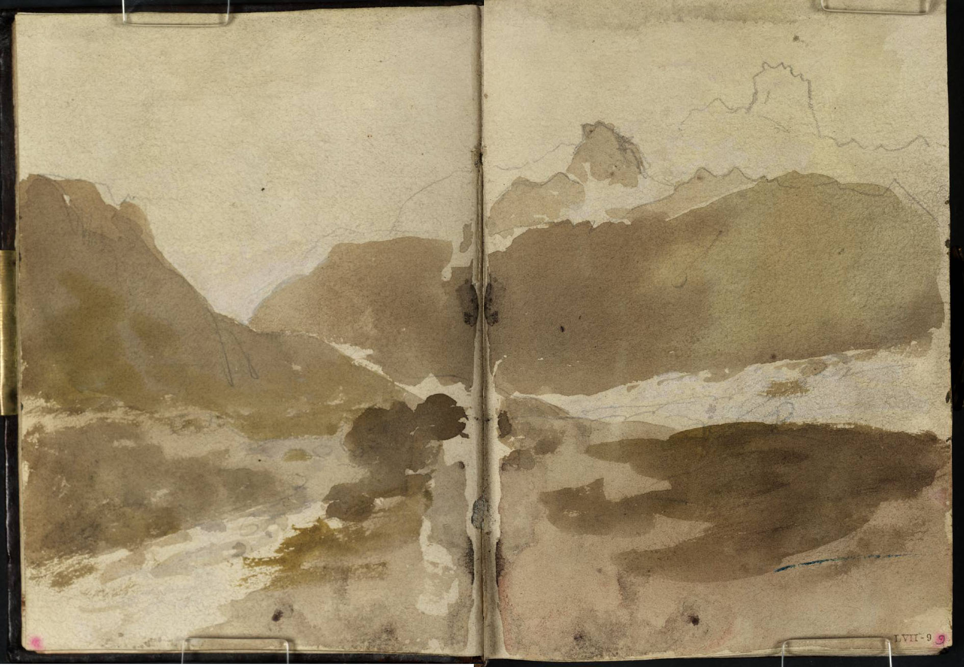 J M W Turner Ben Arthur from the entrance to Glen Croe above Ardgartan, 1801 Pencil and sepia washes on paper, 149 x 218 mm (page size, 149 x 109 mm) from the 'Tummel Bridge' sketchbook, Tate, London, D03292-93, Turner Bequest TB LVII 8a-9 as 'Looking up Glenkinglas from Cairndow'. Image courtesy of Tate. To see the image in the Tate's own online catalogue, click on the following link, and then use your browser's 'back' button to return to this page: http://www.tate.org.uk/art/sketchbook/tummel-bridge-sketchbook-65708/19