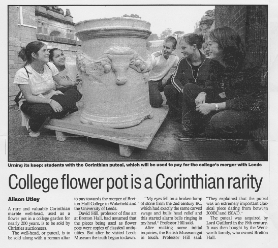 THES: The Times Higher Education Supplement, 7 December 2001 Article by Alison Utley, reporting the discovery and impending sale of the Bretton Marbles.