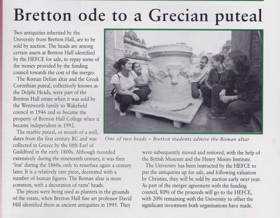 University of Leeds Reporter, 5 November 2001 Reporting the impending sale of the Bretton Marbles.