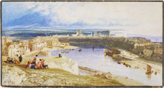 John Sell Cotman Dieppe, from the Heights to the east of the Port, looking down upon the Harbour, Castle, Churches of St Jacques and St Remi, and along the coast to St Vallery, 1823 Watercolour, 287 x 532 m, 11 3/16 x 21 ins London, Victoria and Albert Museum, P26-1934 This was one of the first subjects sketched by Cotman in France, but it had to wait until after the completion of the Architectural Antiquities to be developed into a finished work. It seems a shame that he did not chose to include it in his book, but presumably thought it insufficiently architectural. Image courtesy of Victoria and Albert Museum To see this work in the V&A's own online catalogue click on the following link, and use your browser's 'back' button to return to this page. http://collections.vam.ac.uk/item/O68994/dieppe-harbour-watercolour-cotman-john-sell/