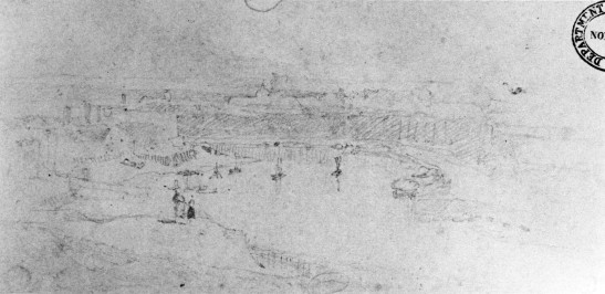 John Sell Cotman Dieppe Harbour and Town; Called 'Dieppe from the Heights', 1817 Graphite on cream wove paper, 129 x 268 mm, 5 1/16 x 10 9/16 ins Norwich Castle Museum, NWHCM : L1967.9.45 On the spot sketches from Cotman's tours of Normandy are very rare. This was one of his first sketches on French soil, and he wrote enthusiastically about the view.  Image scanned from Norfolk Museums service, Cotman: Normandy, 1975, pl.26
