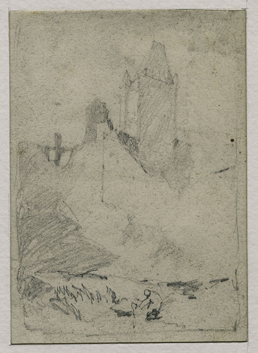 John Sell Cotman (1782-1842) The Saint Remy Tower of Dieppe Castle, seen from the south, 1817 Graphite on white, wove paper, 113 x 80 mm Leeds Art Gallery, LEEAG.1949.0009.0507 Cotman sketched this subject on 23 June 1817. It is a rather obtuse representation of the castle, but such approaches were typical of him. He did, however, also draw the castle from a more familiar angles (see below). Photo courtesy of Leeds Art Gallery