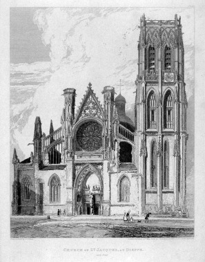 John Sell Cotman (1782-1842) West Front of the Church of St Jacques, Dieppe, 1822 Etching on thick wove paper, image 292 x 237 mm, on plate 342 x 268 mm Drawn, etched and editioned 29 May 1820 by John Sell Cotman as plate 35 of his Architectural Antiquities of Normandy, published 1822; Image courtesy of https://art.famsf.org/john-sell-cotman/church-st-jacques-dieppe-series-architectural-antiquities-normandy