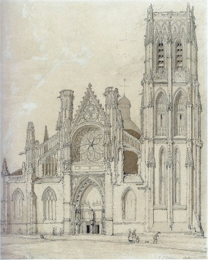 John Sell Cotman (1782-1842) West Front of the Church of St Jacques, Dieppe, 1818 Graphite and brown wash on white wove paper, 292 x 232 mm Inscribed lower left 'Sketchd June 22/17' and lower right 'St Jacques, Dieppe, 1818' Birmingham Museums and Art Gallery Cotman sketched this subject on 23 June 1817. It is a rather more recognisable treatment of the church than the Leeds impression. When this drawing was exhibited at in the Cotman and Normandy exhibition at Dulwich in 2012, Tim Wilcox pointed out that Cotman has mistaken the side doors for windows. Image courtesy of Birmingham Museums and Art Gallery; scanned from Dulwich 2012
