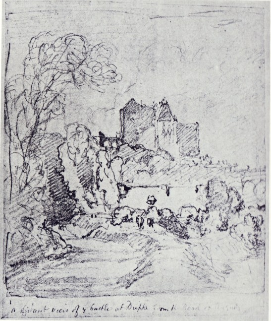 "John Sell Cotman Distant view of the Castle at Dieppe from the road to Arques, 1817? Graphite on paper, 152 x 126 mm Inscribed in graphite along lower edge, ""A distant view of ye castle at Dieppe from the road to Arques"" London, British Museum, 1902,0514.236 Image scanned from H Isherwood Kay, Cotman's Letters from Normandy, Walpole Society, Vol.15, 1926-7, pl.XXIXb"