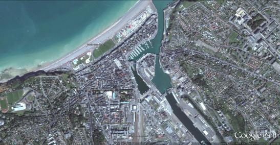 Google Earl Aerial View of Dieppe With placemarks showing Cotman's viewpoints