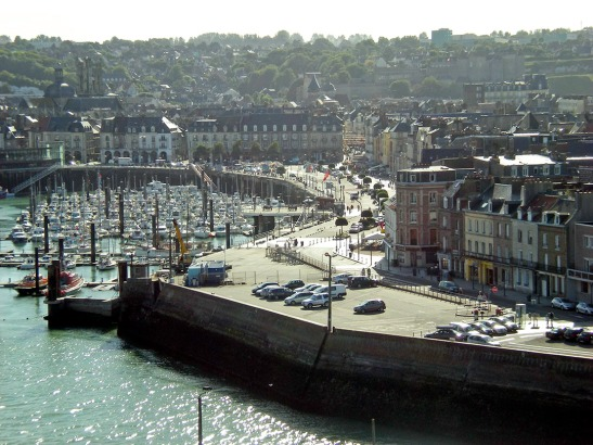 The Harbour and Town of Dieppe Photograph by David Hill, 31 August 2012, 15.20 GMT Cotman's hotel – the Hotel de Londres - is at the far end of the quay to the right and the Church of St Jacques can be seen over the houses to the left.
