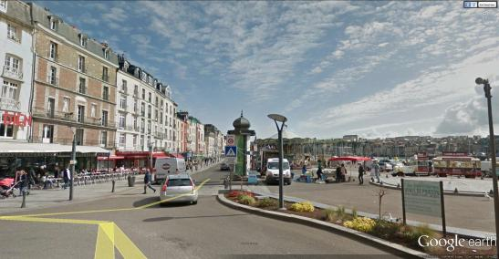 The Hotel de Londres, Dieppe Cotman's letters record that he stayed here (sadly no longer a hotel) on his first visit to Dieppe 20-25 June 1817. It overlooks the harbour from the Quai Henri IV, not far from the Church of St Jacques. Image courtesy of Google Earth Streetview.