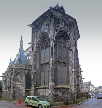 East End of the Church of St Jacques, Dieppe Photograph by David Hill, 5 September 2016, 15.04, GMT Nothing I could do about the little Renault, but it counterpoints Cotman's donkey!