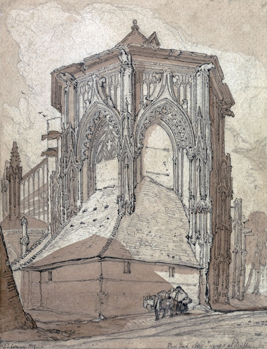 "John Sell Cotman (1782-1842) East End of the Church of St Jacques at Dieppe, 1819 Graphite and brown wash on moderately thick, slightly textured, cream wove paper, 11 5/8 × 8 7/8 ins, 295 × 225 mm Inscribed in graphite, lower right: ""East End of St. Jacques at Dieppe."", Collector's mark: RIBA blind embossed stamp, Signed and dated in graphite, lower left: ""J. S. Cotman 1819."" USA, New Haven, Yale Center for British Art, Paul Mellon Collection, B1975.2.563 Cotman sketched this subject on 23 June 1817. His original sketch is lost, and this is a studio work typical of the monochrome drawings that he made as the basis of his etchings for the 'Architectural Antiquities of Normandy', published in 1822. Photo courtesy of Yale Center for British Art"