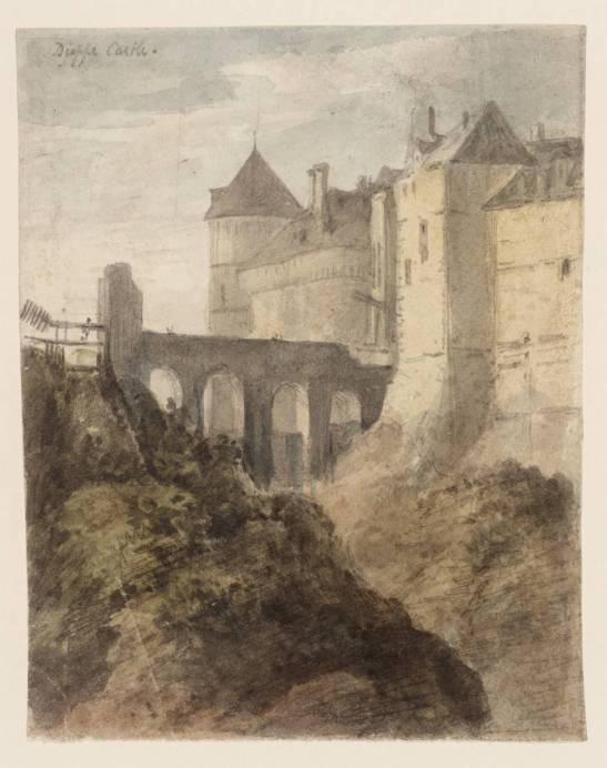 John Charles Denham Dieppe Castle, after Cotman (date unknown) Graphite, watercolour and ink on paper, 142 x 111 mm London, Tate, T10449, Purchased as part of the Oppé Collection with assistance from the National Lottery through the Heritage Lottery Fund 1996 Image, courtesy of Tate Britain. To see this image in Tae's own online catalogue, click on the following link, and then press your browser's 'back' button to return to this page: http://www.tate.org.uk/art/artworks/denham-dieppe-castle-after-cotman-t10449 exhibited 1796-1858 Purchased as part of the Oppé Collection with assistance from the National Lottery through the Heritage Lottery Fund 1996 http://www.tate.org.uk/art/work/T10449