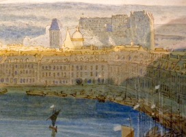 John Sell Cotman Dieppe, from the Heights Detail of buildings on the far quay: Smith version