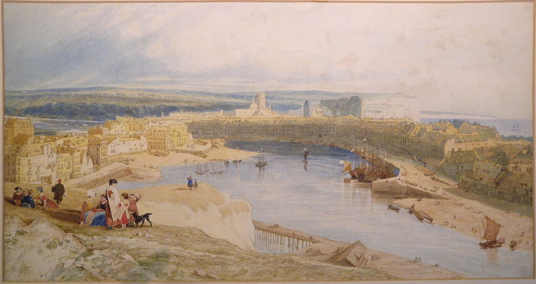 John Sell Cotman Dieppe, from the Heights to the east of the Port, looking down upon the Harbour, Castle, Churches of St Jacques and St Remi, and along the coast to St Vallery, 1823c (The Smith version) Watercolour, 287 x 532 m, 11 3/16 x 21 ins London, Victoria and Albert Museum, 3013-1876 This is a repetition of the 1823 watercolour also at the V&A. It was dismissed by Miklos Rajnai in 1975 as 'an obvious copy with complete lack of quality'. It is certainly a copy, but astonishing in its care and accuracy. It also has real aesthetic quality, especially tin the way it translates the painterly effects of the 1823 watercolour into drawing. Image courtesy of Victoria and Albert Museum To see the entry for this work in the V&A's own online catalogue click on the following link, and use your browser's 'back' button to return to this page. http://collections.vam.ac.uk/item/O1272997/dieppe-from-the-heights-on-watercolour-cotman-john-sell/