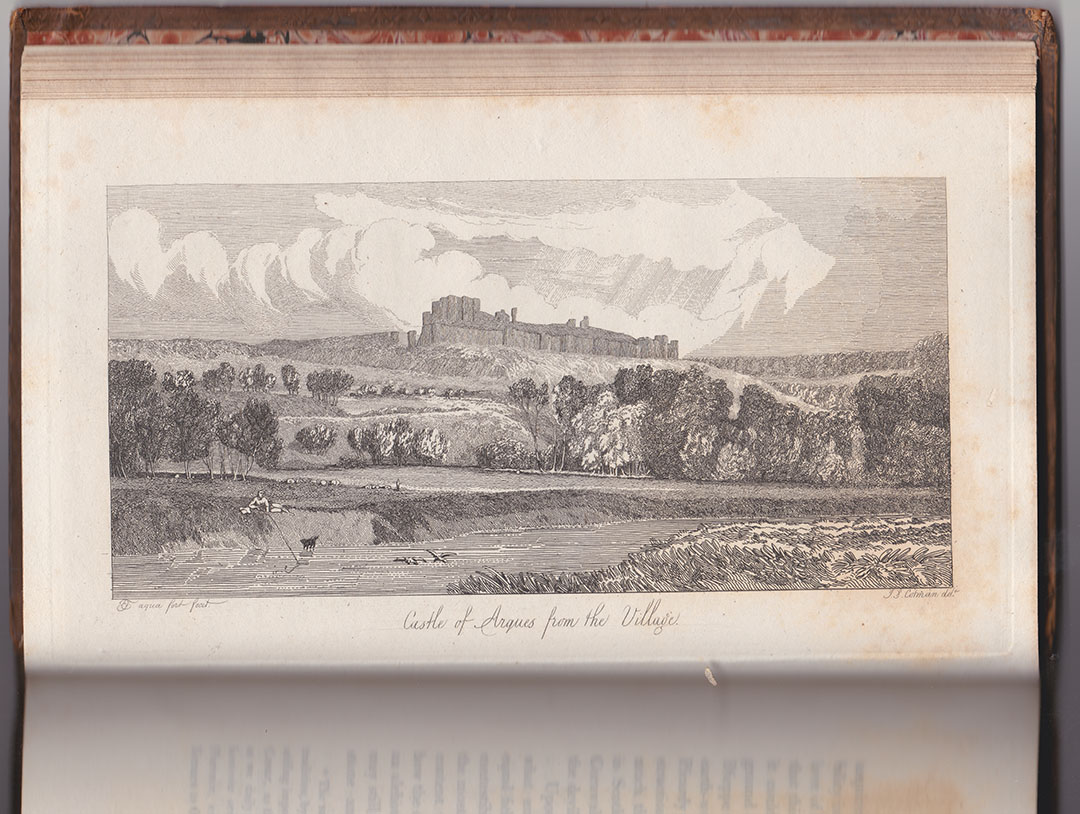 Mary Ann Turner after John Sell Cotman Castle of Arques la Bataille, near Dieppe, from the East, 1820 Etching, printed in brown/black ink on india paper bonded to thick, off-white, wove paper, image 99 x 200 mm, on plate 136 x 226 mm. on sheet as published octavo, 150 x 242 mm Etched by Mary Ann Turner after the drawing by John Sell Cotman and published in Dawson Turner's 'A Tour in Normandy', 1820, Volume 1, opposite p.33. Collection: The Author Photograph by David Hill