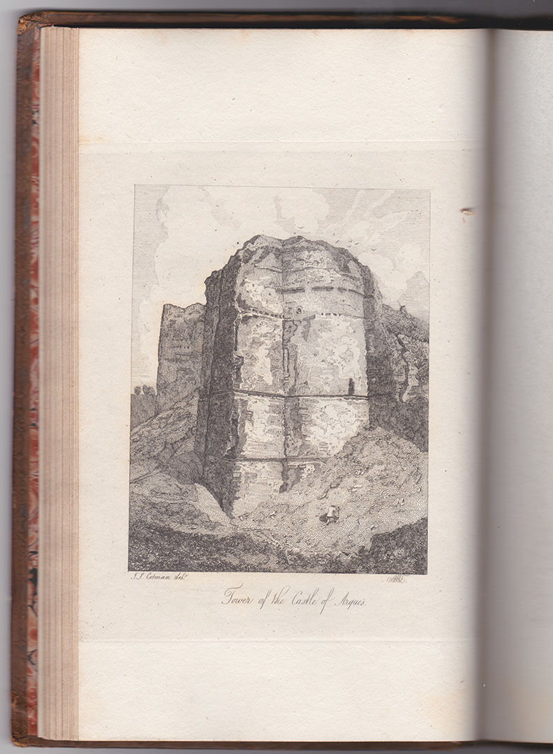 Mary Ann Turner after John Sell Cotman Tower on the East side of the Castle of Arques la Bataille, near Dieppe, 1820 Etching, printed in brown/black ink on india paper bonded to thick, off-white, wove paper, image 131 x 100 mm, on plate 170 x 142 mm. on sheet as published octavo, 242 x 150 mm Etched by Mary Ann Turner after the drawing at Bedford  by John Sell Cotman and published in Dawson Turner's 'A Tour in Normandy', 1820, Volume 1, opposite p.37. Collection: The Author Photograph by David Hill