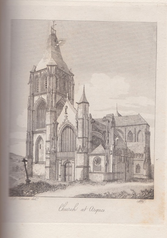 Mary Ann Turner after John Sell Cotman Church of Arques la Bataille, near Dieppe, West Front, 1820 Etching, printed in brown/black ink on india paper bonded to thick, off-white, wove paper, image 146 x 121 mm, on plate 183 x 138 mm. on sheet as published octavo, 242 x 150 mm Etched by Mary Ann Turner after the drawing by John Sell Cotman and published in Dawson Turner's 'A Tour in Normandy', 1820, Volume 1, opposite p.40. Collection: The Author Photograph by David Hill