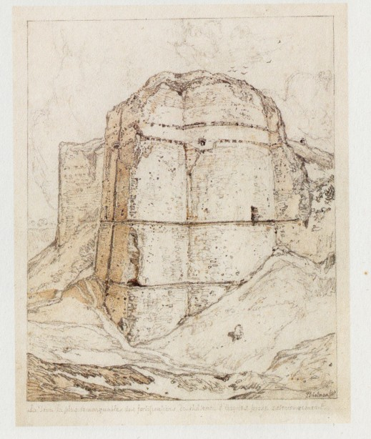 John Sell Cotman Tower on the East side of the Castle of Arques la Bataille, near Dieppe, 1818 Graphite and sepia wash on paper, 255 x 200 mm Bedford, Cecil Higgins Art Gallery (P.451) Image repr. Evelyn Joll, 'Watercolours and Drawings at the Cecil Higgins Art Gallery, Bedford', 2002, p.72.