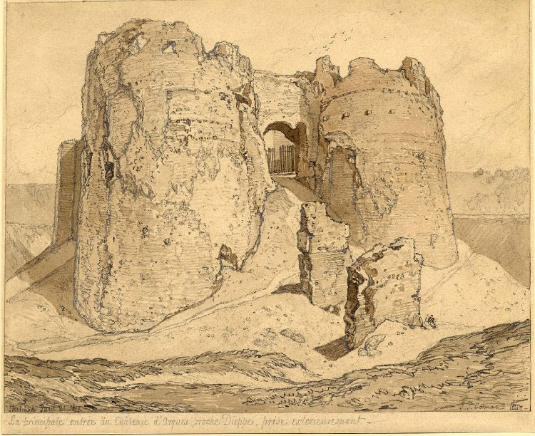 John Sell Cotman Gateway to the Castle of Arques la Bataille, near Dieppe, 1818 Graphite and sepia wash on paper, 218 x 264 mm British Museum, London (1902,0514.51) Image by courtesy of the British Museum. To see this subject on the British Museum's own online catalogue click on the following link, and use your browser's 'back' button to return to this page: http://www.britishmuseum.org/research/collection_online/collection_object_details.aspx?objectId=745572&partId=1&searchText=cotman+arques&page=1