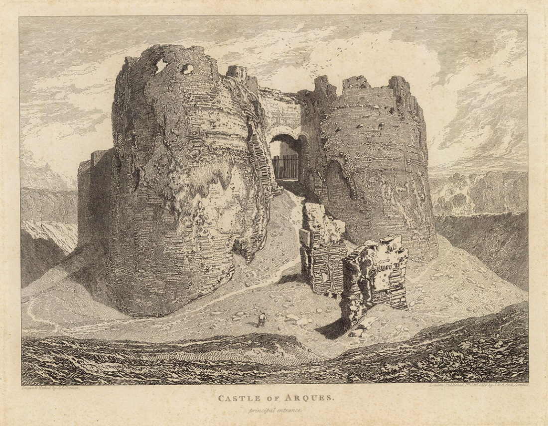 John Sell Cotman Gateway to the Castle of Arques la Bataille, near Dieppe, 1819 Etching, printed in brown/black ink on thick, off-white, wove paper, image 216 x 297 mm, on plate 250 x 316 mm. Leeds example on sheet 277 x 395 mm, trimmed to plate margin at bottom; as published folio, 354 x 496 mm Drawn, etched and editioned 1 October 1819 by John Sell Cotman as plate 1 of his Architectural Antiquities of Normandy, published 1822 Leeds Art Gallery (1949.744) Image courtesy of Leeds Art Gallery. To be included in the forthcoming catalogue of the Leeds Cotman collection, October 2017.