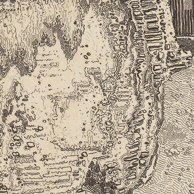 John Sell Cotman Gateway to the Castle of Arques la Bataille, near Dieppe, 1819 Etching, detail of Cotman's hieroglyphics