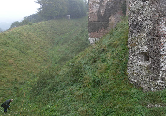 Gateway to the Castle of Arques la Bataille, near Dieppe Detail: collecting snails Photograph by David Hill, taken 5 September 2016, 12.35 GMT