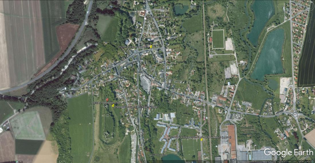 Google Earth map of Arques la Bataille area