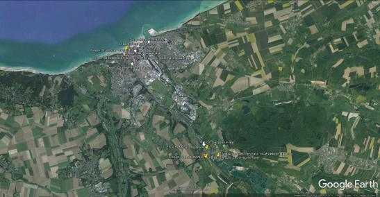 Google Earth map of Dieppe and Arques la Bataille area.
