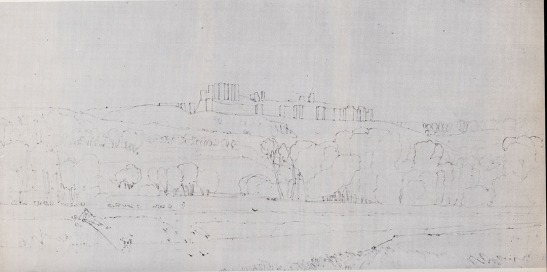 John Sell Cotman Castle of Arques la Bataille from the East, 1819 Graphite on wove paper, 195 mm x 391 mm Norwich Castle Museum NWHCM : 1967.624 Image from Miklos Rajnai and Marjorie Allthorpe-Guyton, 'John Sell Cotman : Drawings of Normandy in Norwich Castle Museum' [Norwich: Norfolk Museums Service, 1975] no.7, repr.