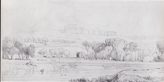 John Sell Cotman Castle of Arques la Bataille from the East, 1819 Graphite and sepia wash on wove paper, 187 x 391 mm Norwich Castle Museum NWHCM : 1951.235.169 Image from Miklos Rajnai and Marjorie Allthorpe-Guyton, 'John Sell Cotman : Drawings of Normandy in Norwich Castle Museum' [Norwich: Norfolk Museums Service, 1975] no.6, repr.