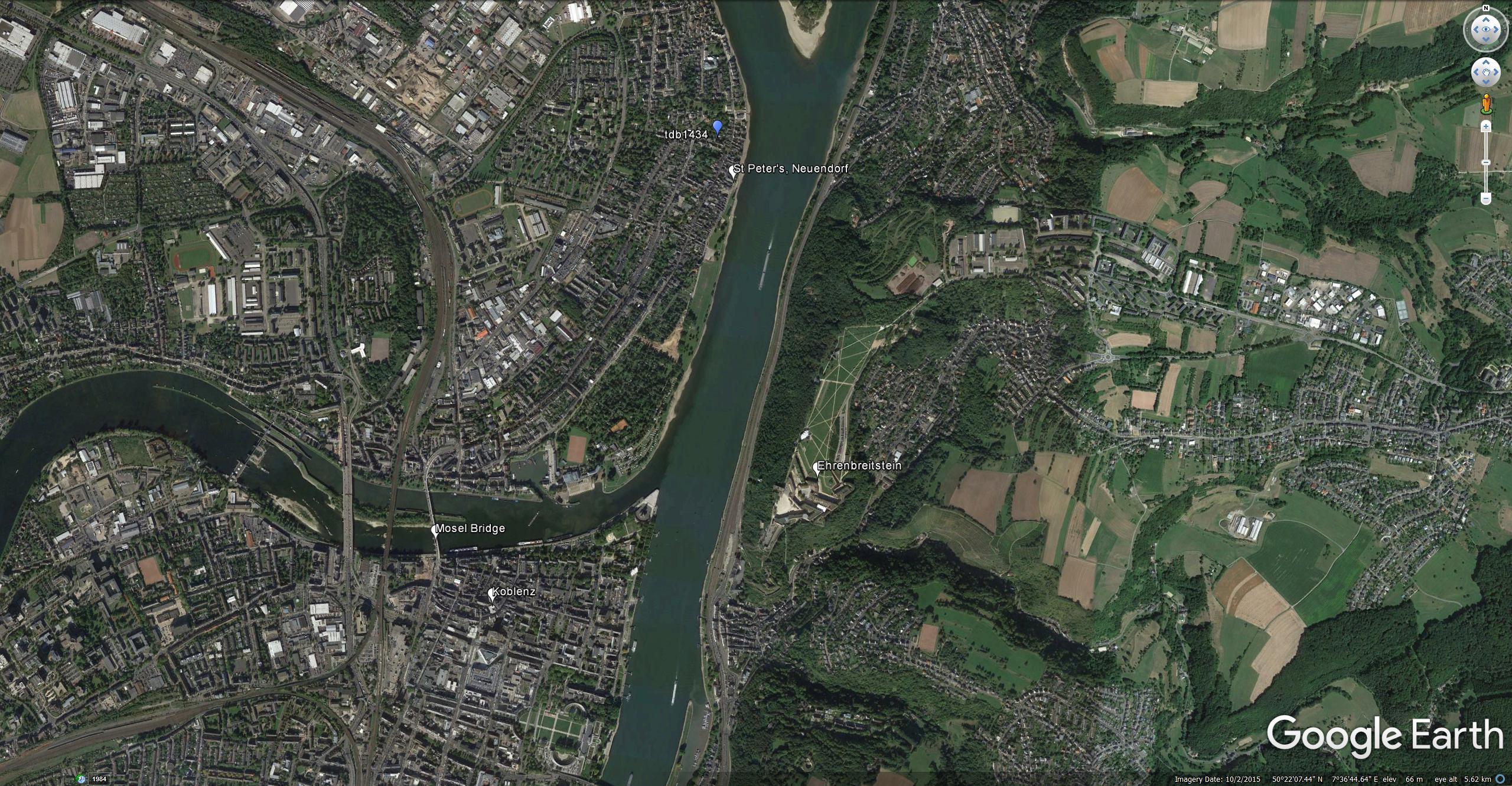 Google Earth Aerial View of Neuendorf, Ehrenbreitstein and Koblenz, showing Turner's viewpoints