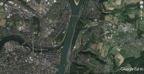 Google Earth Aerial View of Neuendorf, Ehrenbreitstein and Koblenz, showing Turner's viewpoints