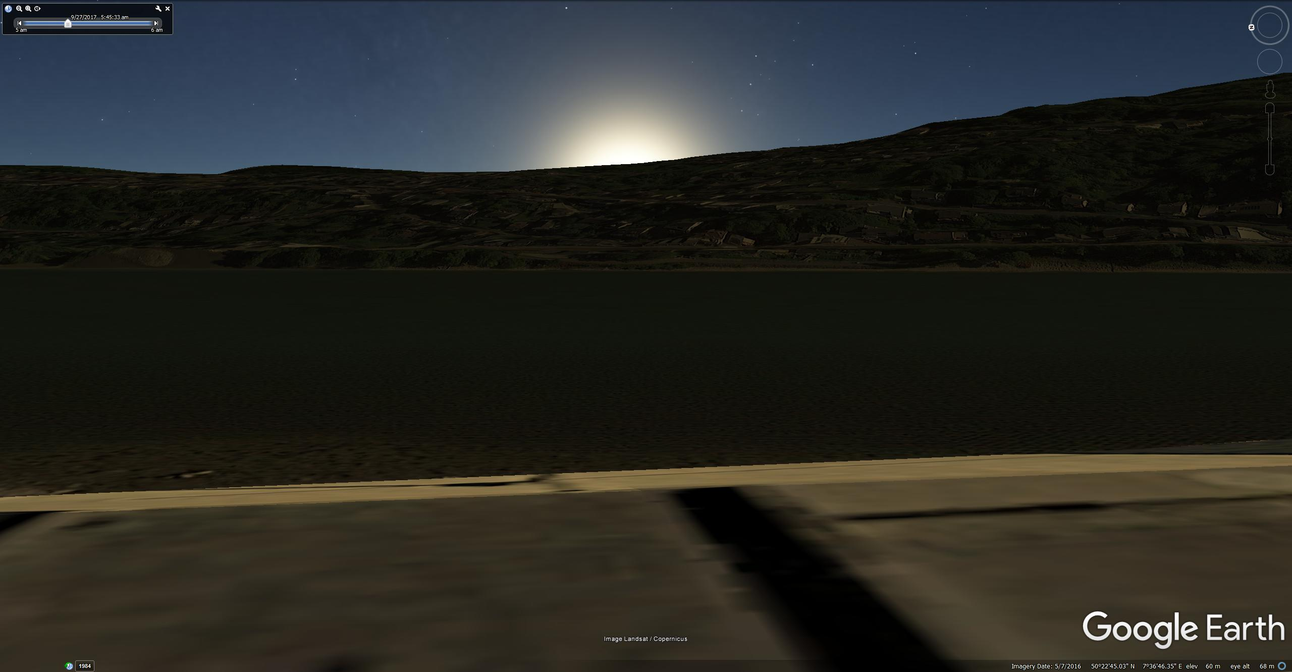 Google Earth rendering of sunrise across the Rhine from Neuendorf, 5.45 am, 27 September, about the same time that Turner was there in 1840