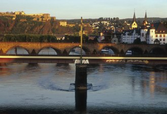 Mosel Bridge, Koblenz, sunset Photograph taken by David Hill, 2001