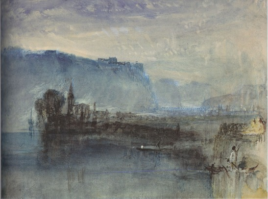 J.M.W.Turner The Castle of Ehrenbreitstein looking up the Rhine from Neuendorf, with the church of St Peter in the foreground: Dawn, c.1840-1 Watercolour on white paper, 230 x 285 mm Private Collection. Exhibited Aix en Provence 'Turner et la Couleur' (no.105) and Turner Contemporary, Margate, 'JMW Turner: Adventures in Colour' as 'River Scene: Moonlight', the subject can here be reidentified. Image scanned from catalogue 'Turner et la Couleur', 2016, no.105, pending approval of the owner.