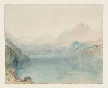 J.M.W.Turner Lake Lucerne: The Bay of Uri from above Brunnen: Sample Study, c.1841-2 Pen and ink, graphite and watercolour on paper, 242 x 297 mm Tate Britain, London, Turner Bequest TB CCCLXIV 354, Tate D36216 Photo courtesy of Tate To see this sketch on the Tate's own online catalogue click on the link below, then press your browser's 'back' button to return to this page: http://www.tate.org.uk/art/artworks/turner-lake-lucerne-the-bay-of-uri-from-above-brunnen-sample-study-d36216