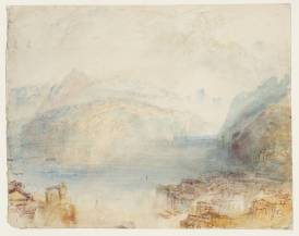 J.M.W.Turner Lake Lucerne, from Brunnen: Sample Study, c.1844-5 Pen and ink, graphite and watercolour on paper, 246 x 308 mm Tate Britain, London, Turner Bequest TB CCCLXIV 385, Tate D36250 Photo courtesy of Tate To see this sketch on the Tate's own online catalogue click on the link below, then press your browser's 'back' button to return to this page: http://www.tate.org.uk/art/artworks/turner-lake-lucerne-from-brunnen-sample-study-d36250