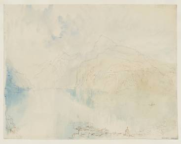 J.M.W.Turner Lake Lucerne, from Brunnen, after c.1830 [1841] Pen and ink, graphite and watercolour on paper, 228 x 294 mm Tate Britain, London, Turner Bequest TB CCCLXIV 387, Tate D36254 Photo courtesy of Tate To see this sketch on the Tate's own online catalogue click on the link below, then press your browser's 'back' button to return to this page: http://www.tate.org.uk/art/artworks/turner-lake-lucerne-from-brunnen-d36254