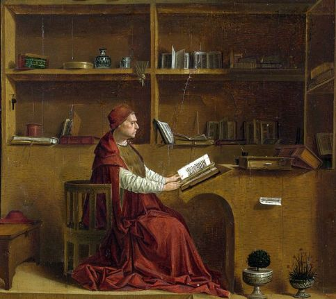 Antonello da Messina (140-1479) St Jerome in his Study, c.1475 [detail – reversed] Oil on panel, 45/7 x 36.2 cm National Gallery, London (NG1418) Image: https://commons.wikimedia.org/wiki/File:Antonello_da_Messina_-_St_Jerome_in_his_study_-_National_Gallery_London_detail.jpg