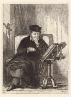 John Sell Cotman A priest seated at a table reading a bible on a stand. Called 'An Ecclesiastic', 1833 Etching on india paper pressed on stiff, heavyweight etching paper, image 197 x 145 mm on plate 204 x 151 mm: Full sheet as published, 492 x 336 mm Inscribed on plate in bottom right corner of image 'JSC' in monogram. Leeds Art Gallery, bequest of Sydney Decimus Kitson, LEEAG.1949.0009.0774 This etching is listed on the online catalogue of the Leeds Art Gallery collection of John Sell Cotman, but funding for the project extended only to fully cataloguing the drawings. I am hoping to be able to work on the prints at some future opportunity. See: https://cotmania.org/works-of-art/211008