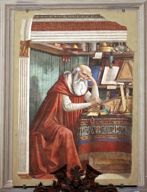 Domenico Ghirlandaio, St Jerome in his Study. c. 1480. Ognissanti, Florence Image: https://www.google.co.uk/search?q=st+jerome+in+his+study+painting&source=lnms&tbm=isch&sa=X&ved=0ahUKEwjs6vzjlfbYAhXLIMAKHbsIBmsQ_AUICigB&biw=1280&bih=906#imgrc=m4hkiF3jY-7ADM:&spf=1516988606754