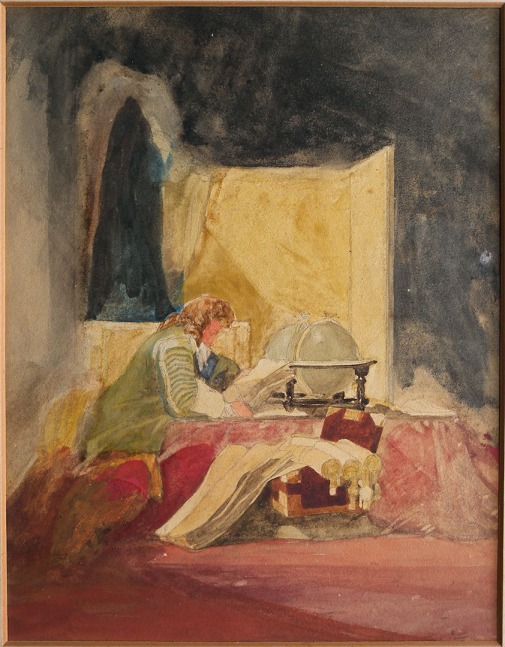 John Sell Cotman 'The Student', c.1833 Graphite and watercolour on lightweight, white, wove, paper, 9 1/2 x 7 3/8 ins, 240 x 185 mm Collection of the author Photograph taken by David Hill