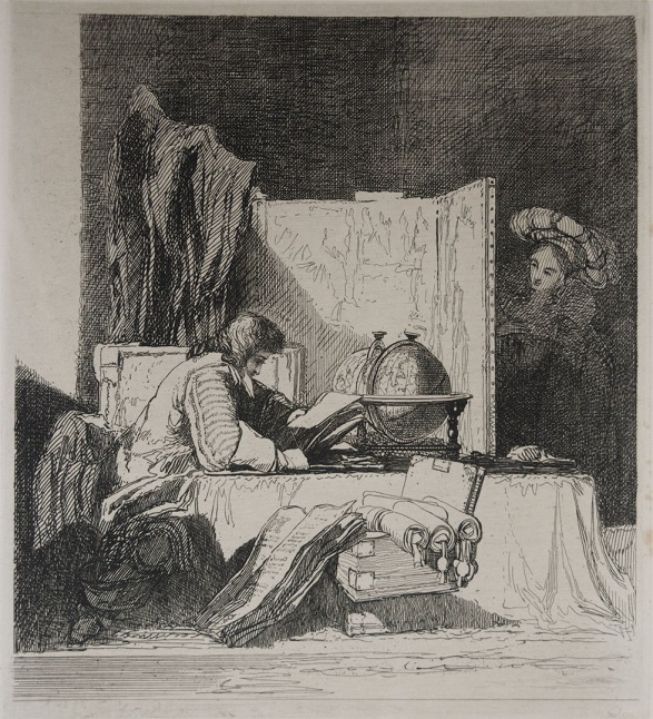 John Sell Cotman The Student, 1833 Etching, printed on lightweight india paper bonded to light card, 196 x 176 mm, on plate 206 x 183 mm, on sheet as published, 492 x 336 mm Collection the author Photograph by David Hill