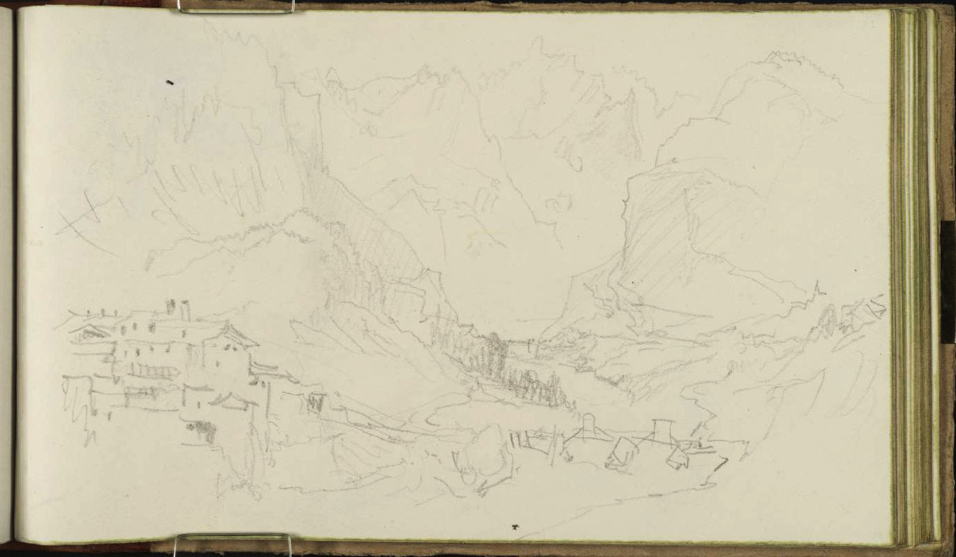 Mountain Pass, with Town 1836 by Joseph Mallord William Turner 1775-1851