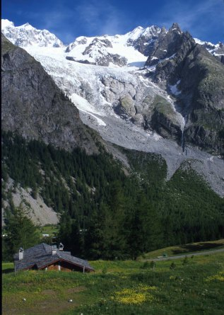 The Brenva Glacier from the Chalet du Mont Blanc Photograph taken by David Hill, June 1999