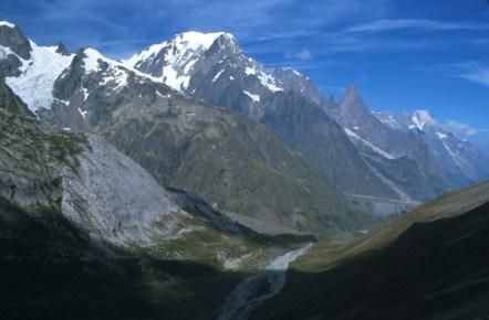 Mont Blanc from the Col de la Seigne Photograph taken by David Hill, June 1999