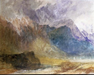 J.M.W.Turner Looking across the Val d'Aosta from near the castle of Sarre, towards Aymavilles, 1836 Graphite and watercolour on paper, 9 3/8 x 11 3/4 ins, 237 x 288 mm Cambridge, Fitzwilliam Museum (Reg no. 1612, Cormack 35) Image courtesy of the Fiztwilliam Museum. To see this image on the Fitzwilliam Museum's website click on the following link and use your browser's 'back' button to return to this page; http://webapps.fitzmuseum.cam.ac.uk/explorer/index.php?qu=turner watercolour&oid=13977