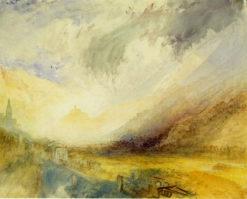 J.M.W.Turner From above Chambave, looking down the Val d'Aosta towards the castle of Ussel, 1836 Graphite and watercolour on white wove paper, WM 'C Ansell/ 1828', 241 x 300 mm Edinburgh, National Gallery of Scotland, D NG 864 Image courtesy of National Gallery of Scotland. To see this image on the NGS website click on the following link and use your browser's 'back' button to return to this page; https://www.nationalgalleries.org/art-and-artists/19220/chambave-looking-down-val-d%E2%80%99-aosta-towards-ussel