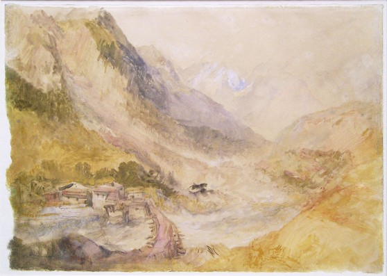 J.M.W.Turner The Ponte de la Villette, above Courmayeur, looking down the Val d'Aosta, Italy, 1836 Graphite and watercolour on paper, 241 x 343 mm (9 ½ x 13 ½) Private Collection, UK, as 'An Alpine landscape with a village'